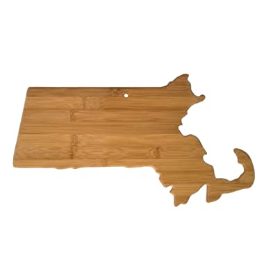 Totally Bamboo Massachusetts State Shaped Bamboo Serving and Cutting Board