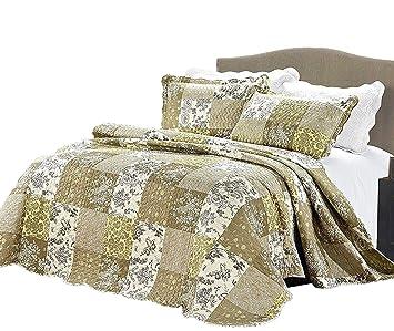 Patchwork Steppdecken 3 Stück Tagesdecken Vintage Floral Sommer Bettwäsche  Für Schlafzimmer, Wohnzimmer, Hotels Und