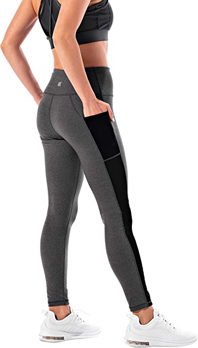 Portazai Womens High Waisted Yoga Leggings Workout Solid Tummy Control Pants Fitness Stretch Workout Running Pants