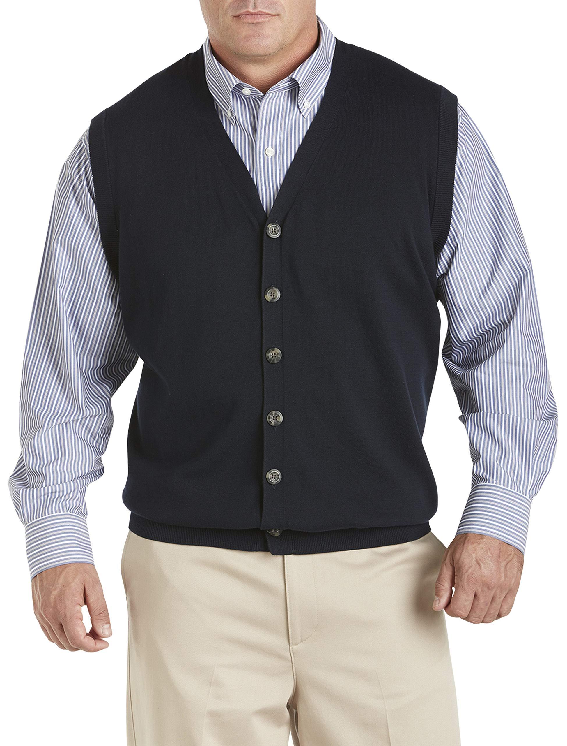 Oak Hill by DXL Big and Tall Button-Front Sweater Vest, Deep Navy 4XLT