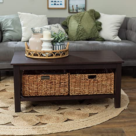 Amazon Com 40 Coffee Table With Wicker Storage Baskets Espresso 40 X 22 18h Brown Farmhouse Rustic Rectangle Laminate Mdf Wood Finish Shelf Kitchen Dining