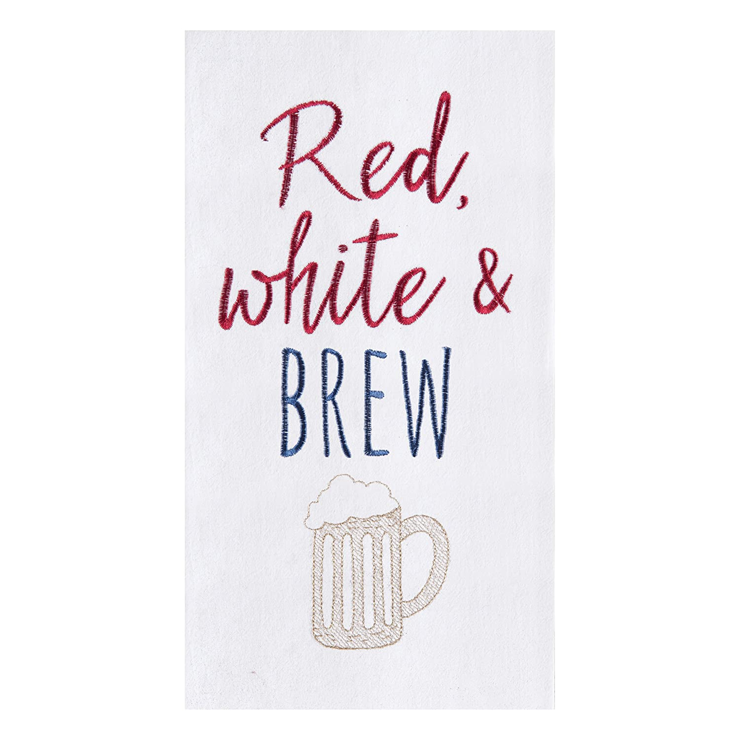 C&F Home Red, White and Brew Beer Mug Flour Sack Kitchen Patriotic American 4th of July Memorial Labor Day Towel Red, White & Brew