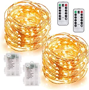 MUMUXI 2 Pack 33Ft 100 LED Fairy Lights Battery Operated, String Lights with 8 Modes Remote Control Timer Waterproof Copper Wire Twinkle Lights for Bedroom Wedding Party Chirstmas Decor, Warm White