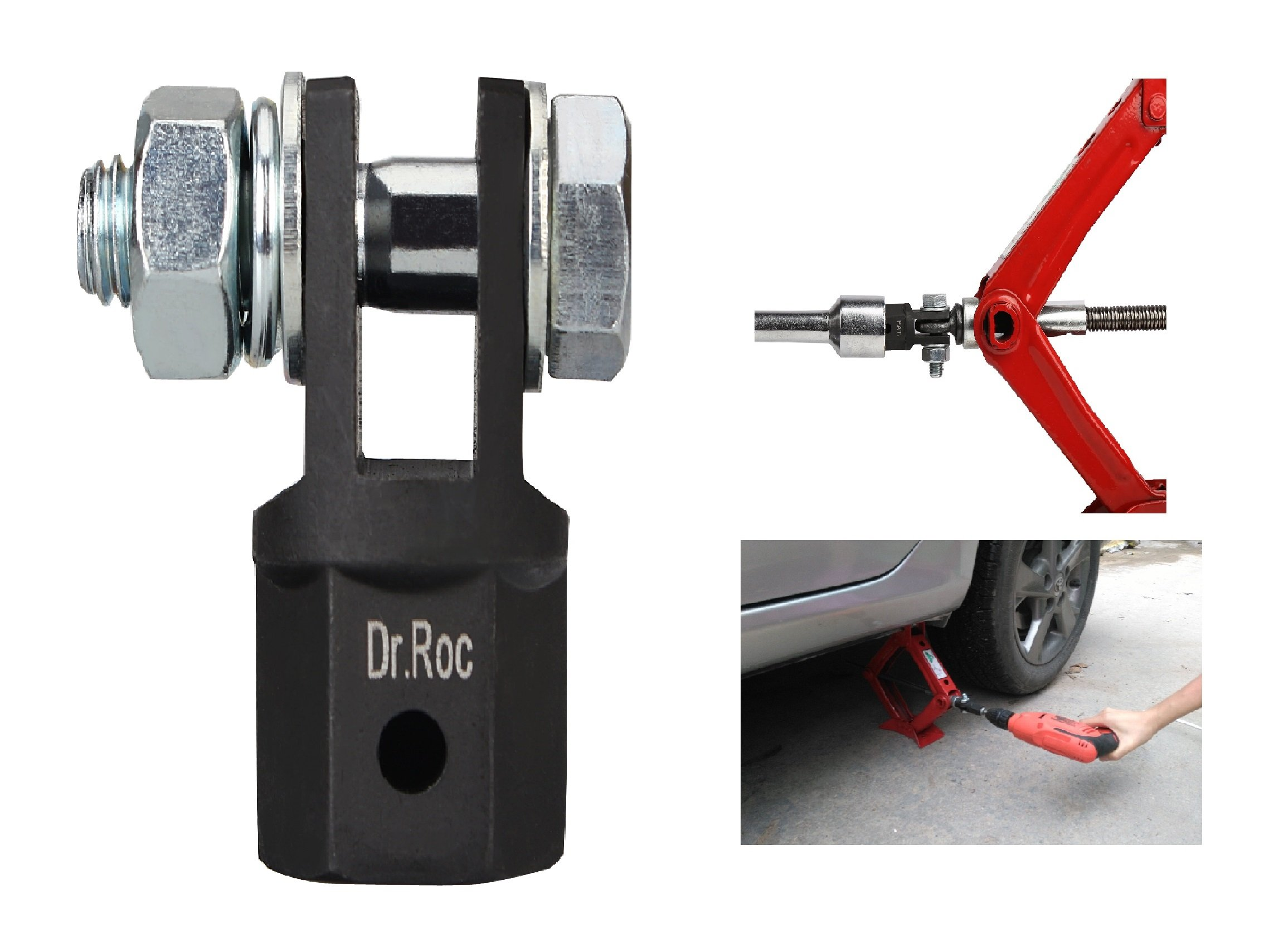 Dr.Roc Scissor Jack Adapter for 1/2 Inch Drive Impact Wrench or 13/16 Inch Lug Wrench or Power Drills, Scissor Jack Drill Adapter for Impact Drills Socket Automotive Jack RV Trailer Leveling Jack