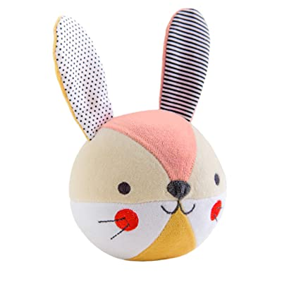 Petit Collage Eco-Friendly Organic Cotton Baby Soft Chime Ball Busy Bunny: Toys & Games