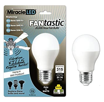 Miracle led 605026 3 watt fantastic 20 000 hour fan bulb energy miracle led 605026 3 watt fantastic 20 000 hour fan bulb energy saving ceiling fan light cool white led household light bulbs amazon aloadofball Choice Image