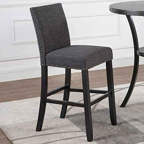 Magnificent Roundhill Furniture Pc164Ta Biony Fabric Bar Stools With Nailhead Trim Set Of 2 Gray Andrewgaddart Wooden Chair Designs For Living Room Andrewgaddartcom