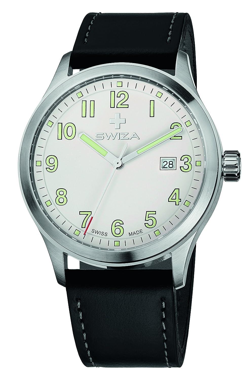 SWIZA Kretos Gent Quarzlaufwerk - GehÄuse Edelstahl 316L - GebÜrstet Poliert - Schwarzes Band Luxus Uhr Made in Swiss