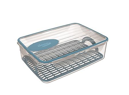 Biesse Tupper hermético 4 Cierres de 4,5 litros para Cocina microondas Apto para congelador y Rejilla escurridora, Azul, 30.0x22.0x9.5 cm