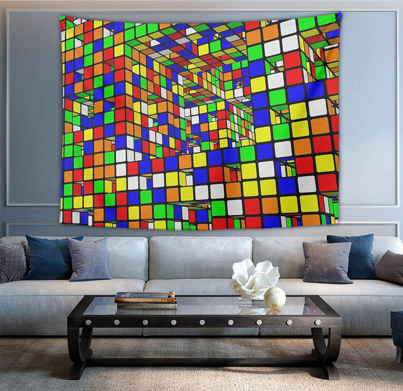 NiYoung Rubiks Cube World Tapestry, Bohemian Wall Tapestry Wall Hanging Tapestry - Wall Indian Decorations Wall Art Living Room Bedroom Dorm Room 40 x 60 inches