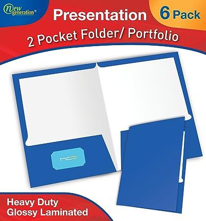Nueva generación carpeta de presentación/cartera, Heavy Duty papel UV brillante laminado en una caja de presentación, 2 bolsillo, 25 carpetas, ...