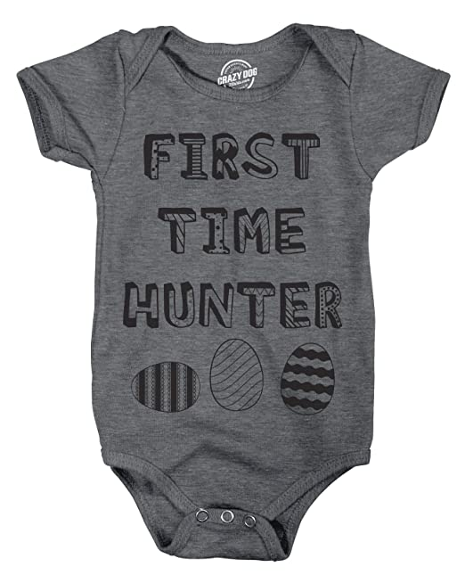 ce954a22d43c Creeper First Time Hunter Tshirt Funny Easter Egg Hunt Tee for Infant (Dark  Heather Grey