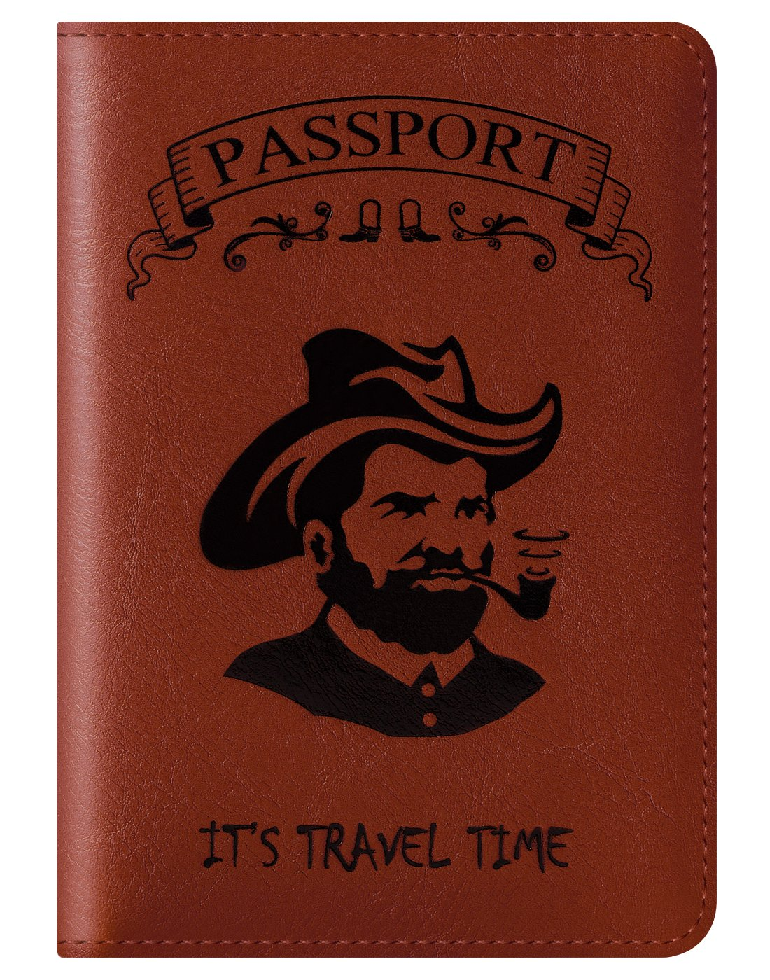 Passport Holder Cover Wallet RFID Blocking Leather Card Case Travel Document Organizer (Smoke Head-Red Brown)