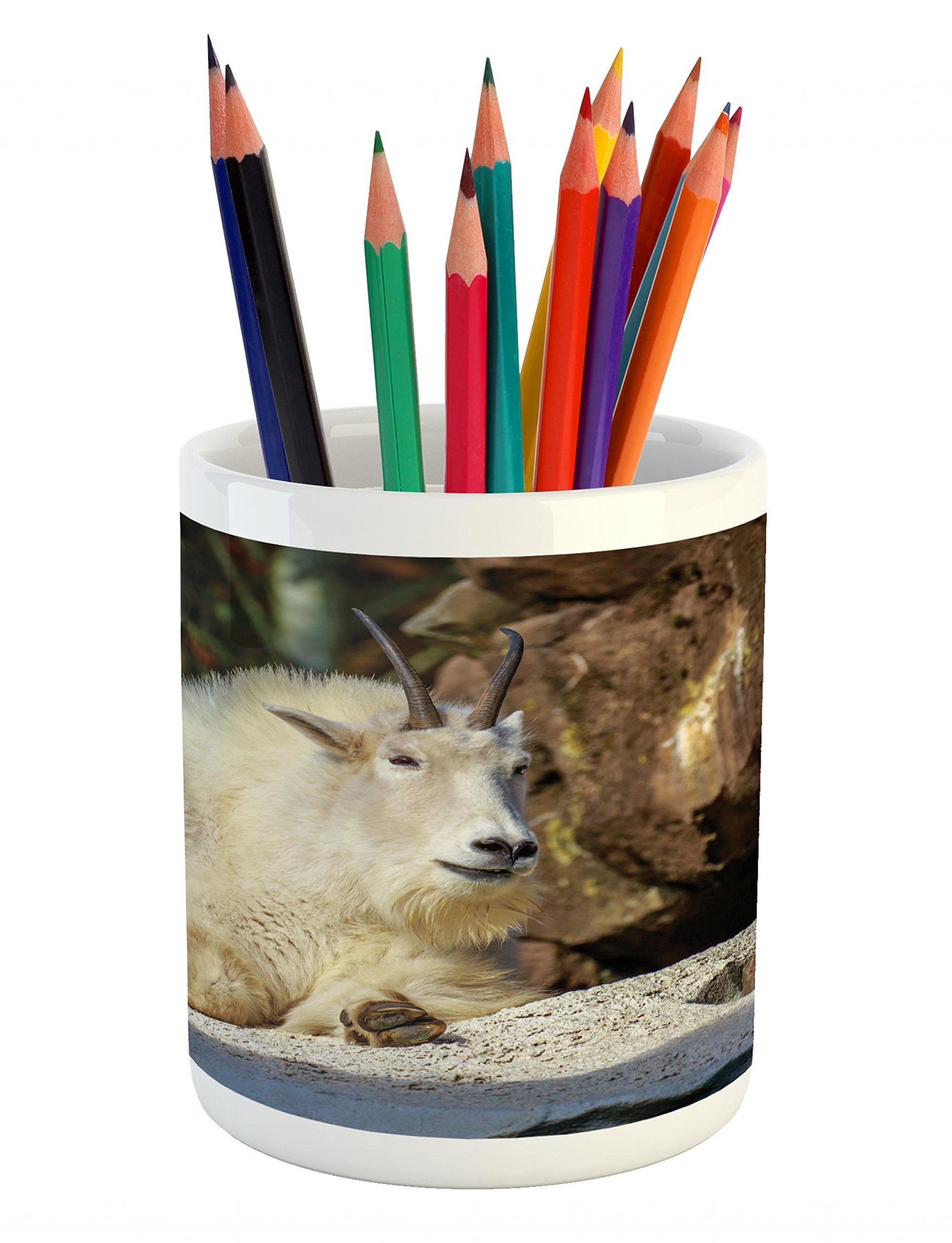 Lunarable Goat Pencil Pen Holder, White Mountain Goat Sunbathing on a Rocky Slope Idyllic North America Scene, Printed Ceramic Pencil Pen Holder for Desk Office Accessory, Brown Cream and Grey