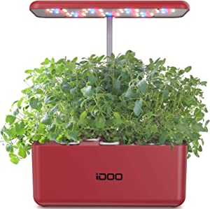iDOO Hydroponics Growing System, Indoor Herb Garden Starter Kit with LED Grow Light, Smart Garden Planter for Home Kitchen, Automatic Timer Germination Kit, Red