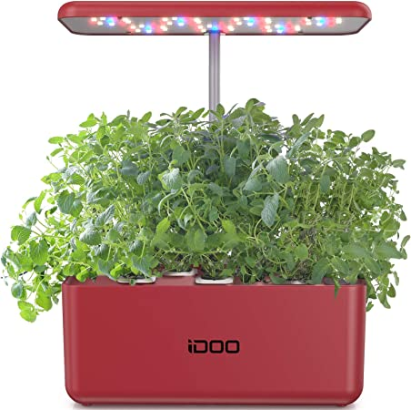 Amazon Com Idoo Hydroponics Growing System Indoor Herb Garden Starter Kit With Led Grow Light Smart Garden Planter For Home Kitchen Automatic Timer Germination Kit Red Garden Outdoor