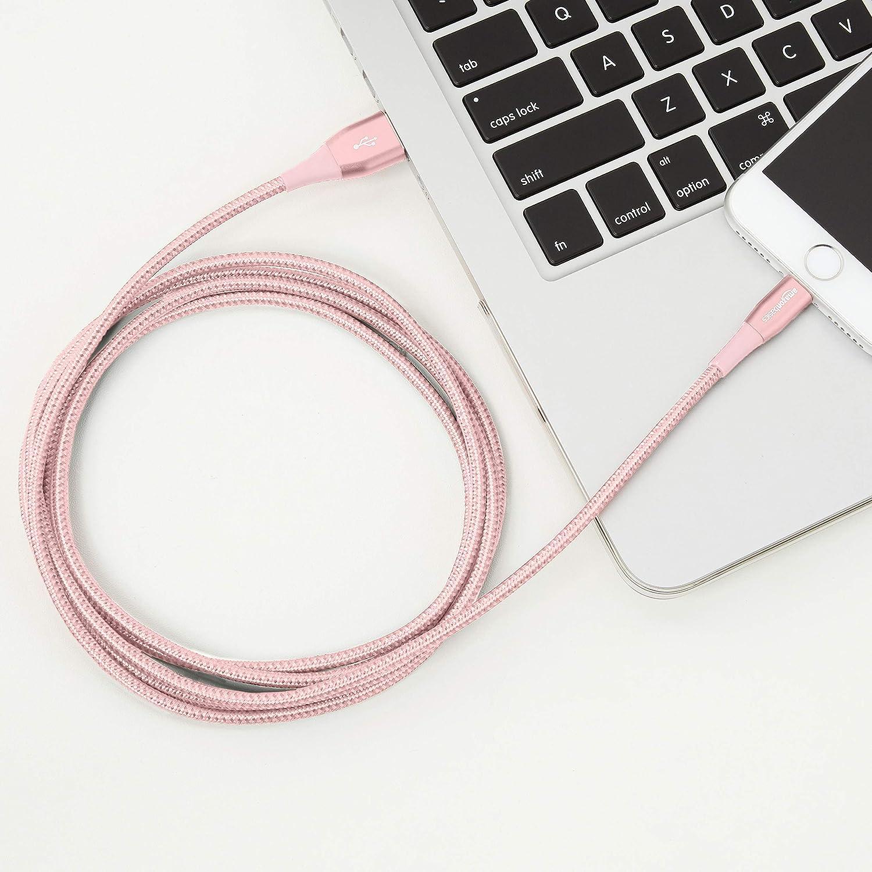 Rot Premium-Kollektion 12 St/ück Lightning-auf-USB-A-Kabel 1,8 m doppelt geflochtenes Nylon-Verbindungskabel Basics