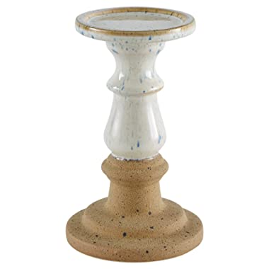 Stone & Beam Rustic-Look Stoneware Candle Holder, 7.9 H, White and Clay