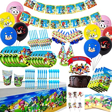 Amazon Com 149pcs Sonic The Hedgehog Party Favor Party Decorations Birthday Party Supplies Flatware Spoons Fork Knife Plates Cups Straws Table Covers Banner Napkins Balloon Cake Toppers Tablecloth Birthday Party Favor Pack