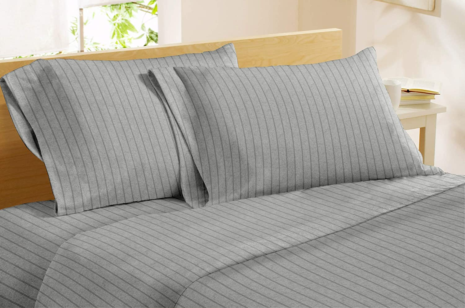 Amazon Com Dormisette Luxury German Flannel Sheets Pillowcases Set 4 Piece King Heather Grey Pinstripe Kitchen Dining