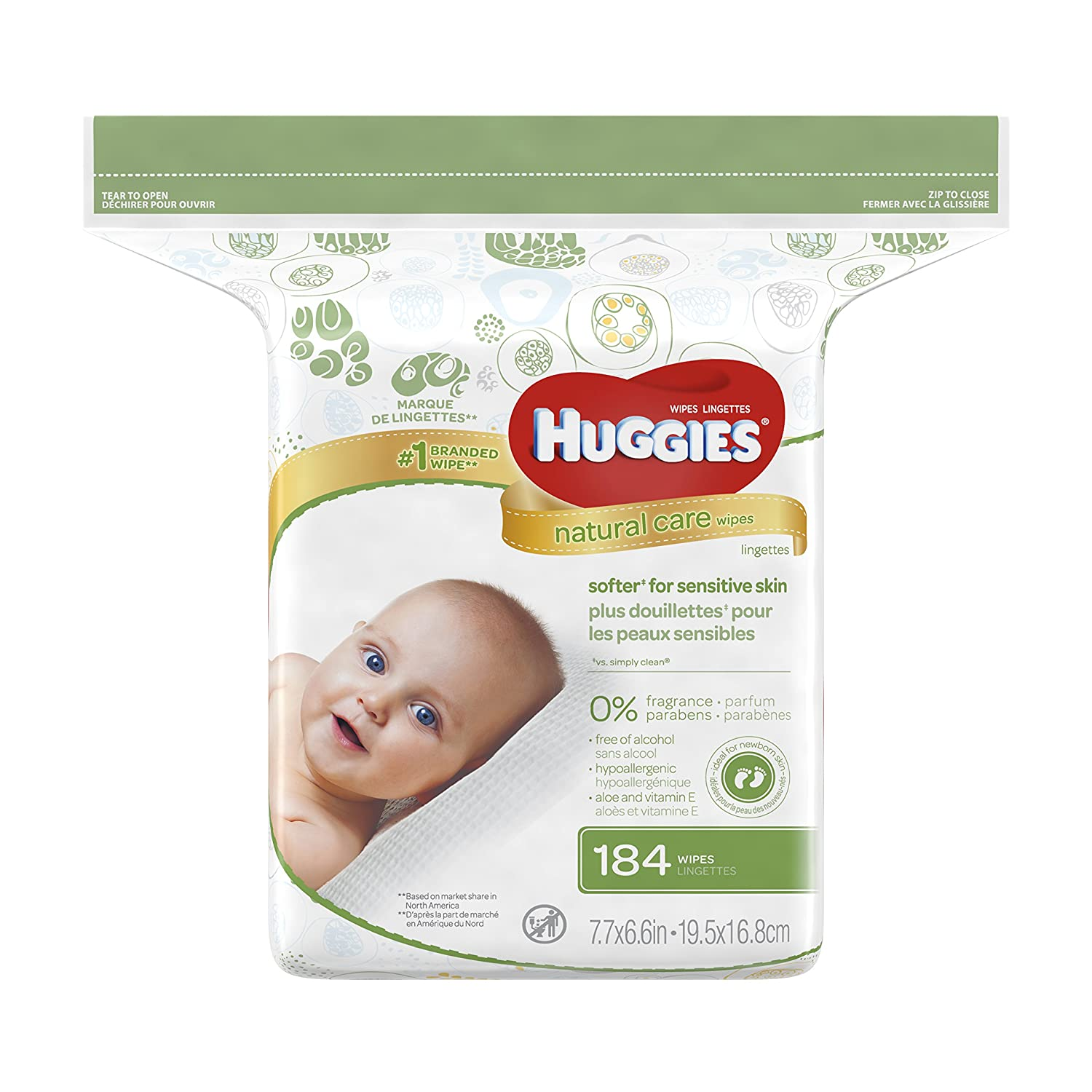 Huggies Natural Care Fragrance Free Baby Wipes 552 Total Wipes 184 Count by Huggies