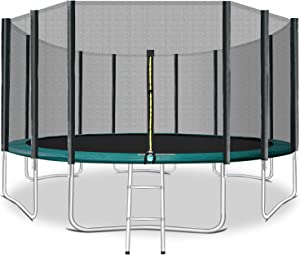 ACWARM HOME 16FT Trampoline with Safety Enclosure Net, Ladder, Basketball Hoop, Jumping Mat, Safety Pad, Outdoor Backyard Trampolines for Kids & Adult (Green)