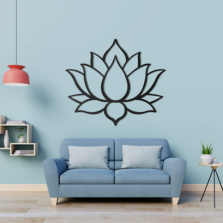 "Bekata Metal Wall Art, Lotus Flower Metal Wall Decoration, Interior Wall Decor, Home, Office, Living Room, Bedroom, Housewarming Gift, Wall Hangings, Minimalism 80 X 70 cm / 31.5"" X 27.5"" Inches"