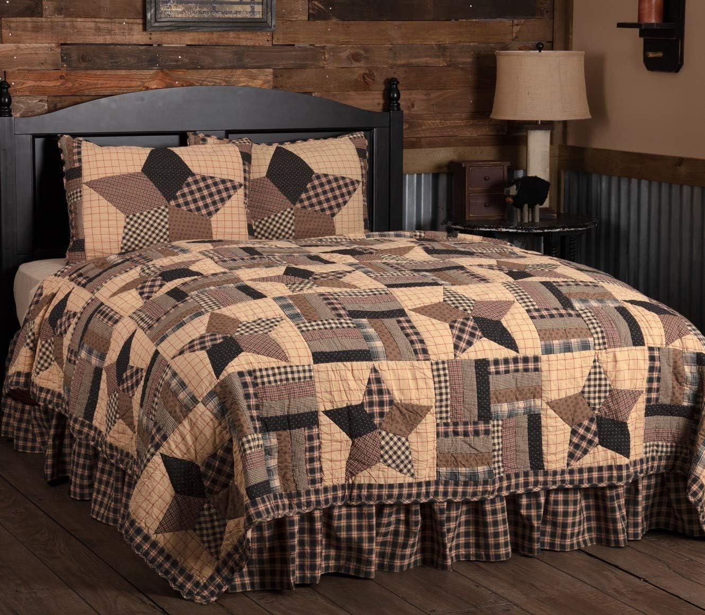VHC Brands Country Bedding Bingham Cotton Pre-Washed Patchwork Star Sham Twin Quilt Set, Soft Black