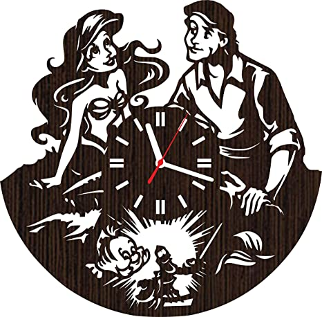Amazoncom Wooden Wall Clock The Little Mermaid Gifts For Fans