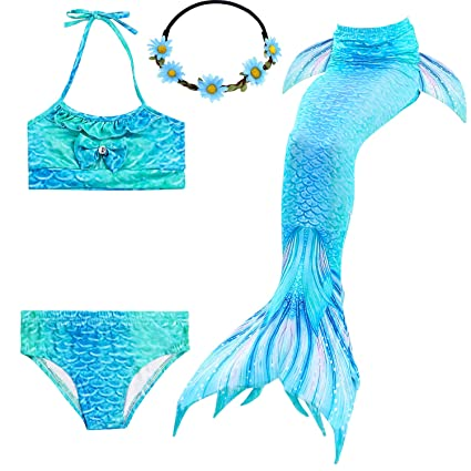 Para estrenar 5c233 b519d 2XDEALS Cola De Sirena Niña para Nadar 4pcs con Bikini Traje De Sirena para  Niñas