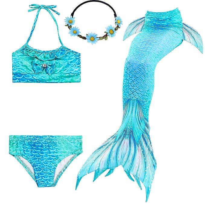 2XDEALS Cola De Sirena Niña para Nadar 4pcs con Bikini Traje De Sirena para Niñas