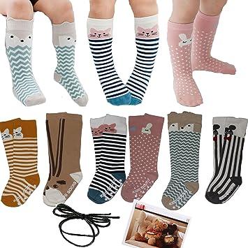 cd5e144f7d36d Yaobabymu 6 Pairs Unisex Baby Girls Boys Socks Toddler Cartoon Animal Knee  High Stockings Anti.