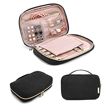96737ac86 BAGSMART Travel Jewelry Storage Cases Jewelry Organizer Bag for Necklace,  Earrings, Rings, Bracelet