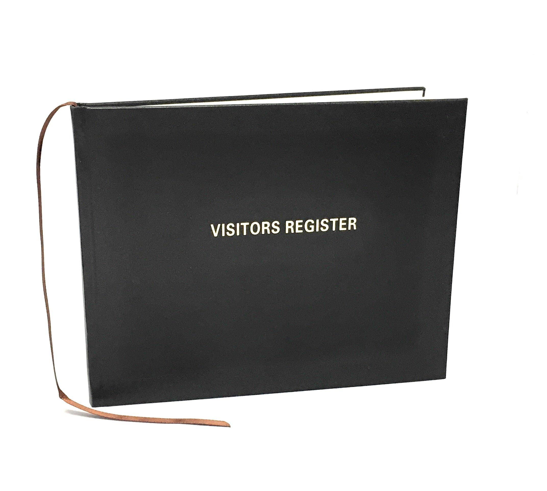Visitors Register Book, 120 Pages, 8 7/8'' X 7'', Black Hardbound Cover, Smyth Sewn