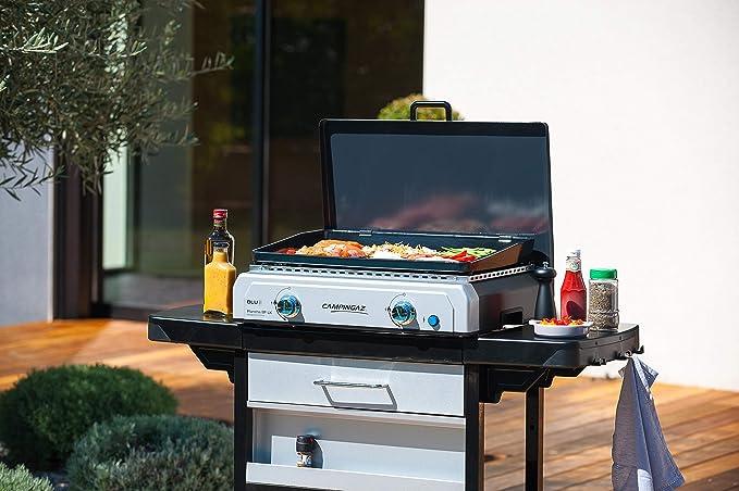 Campingaz Plancha, parrilla de mesa, asador de gas con placa de acero esmaltado y 2 quemadores de acero, parrilla de mesa con tecnología BlueFlame ...