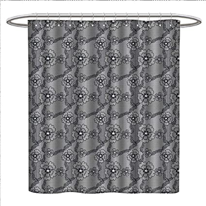 Suchashome Dark Grey Shower Curtains Waterproof Black Lace Style Pattern With Blossoms Victorian Gothic Flowers Bridal