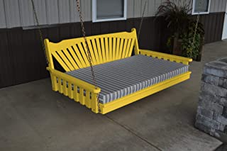 product image for DutchCrafters Amish Pine Wood Fanback Swing Bed (Canary Yellow, 5')