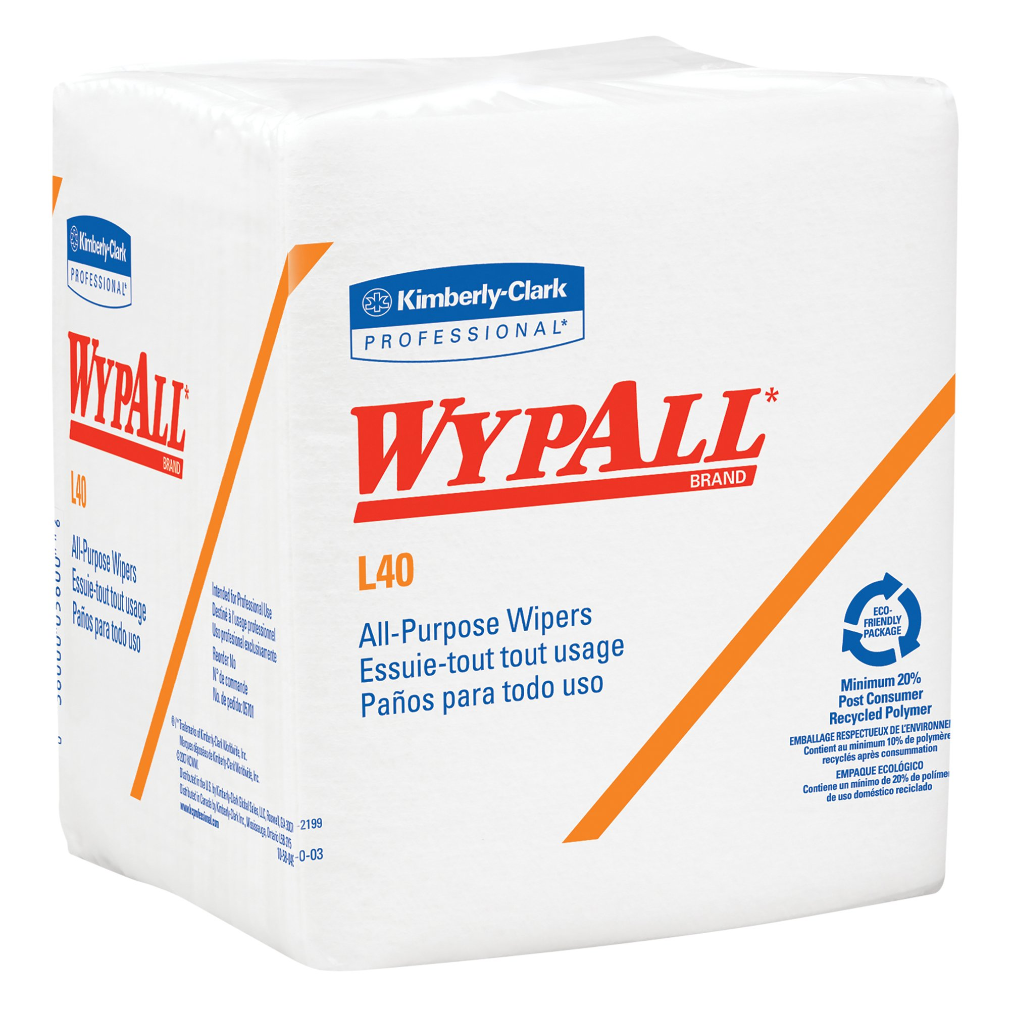 WypAll L40 Disposable Cleaning and Drying Towels (05600), Limited Use Towels, White, 12 Packs per Case, 56 Sheets per Pack, 672 Sheets Total