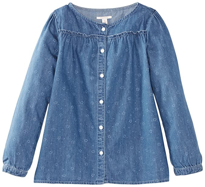 Esprit - Blusa con cuello redondo de manga larga para niña, talla 8-9