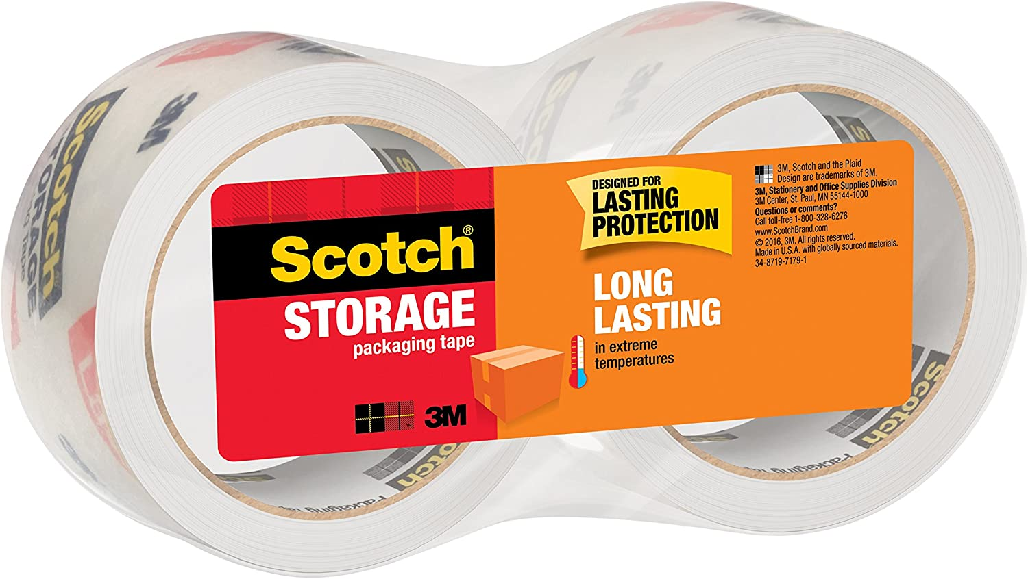 """Clear 1.88/"""" x 54.6 Yd Scotch 3650 Long Lasting Moving /& Storage Packaging Tape"""