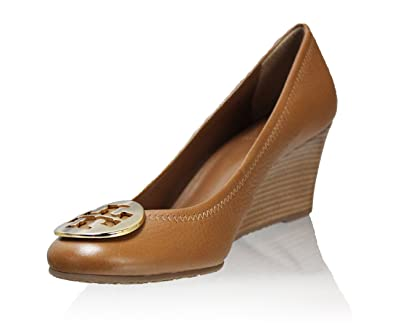 Tory Burch Shoes Leather Sally Wedge Metal Logo (6, Royal Tan Gold)