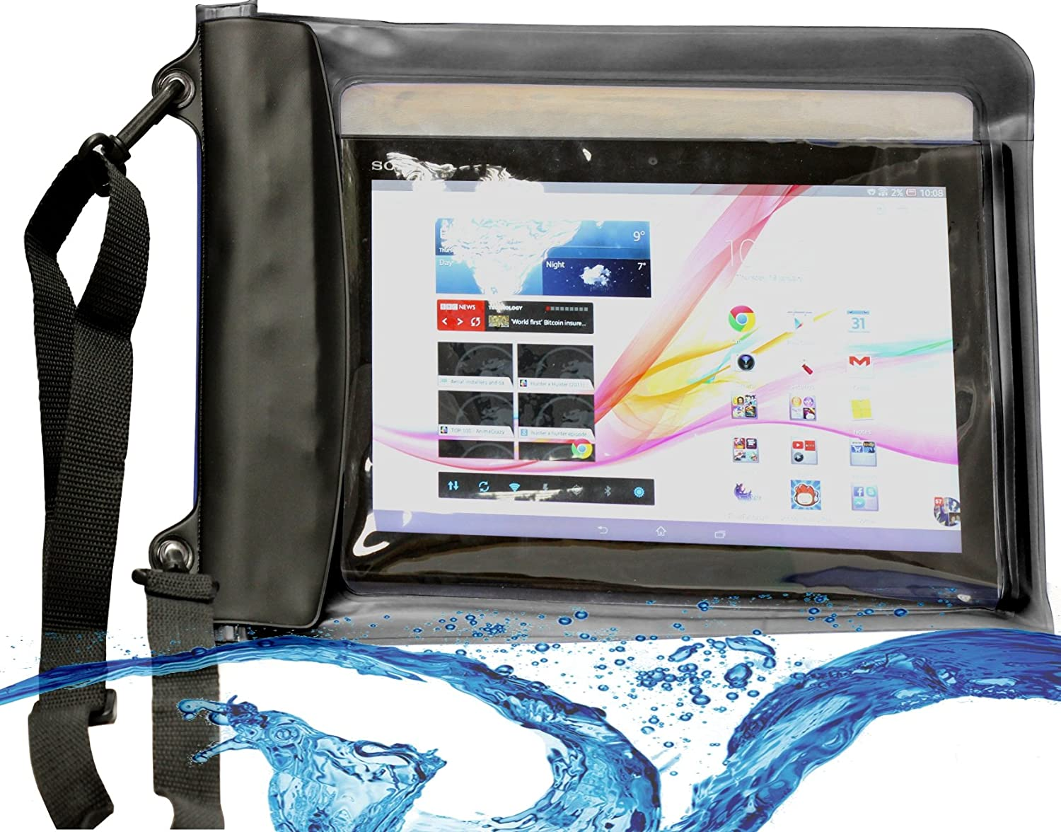 MiTAB Black Waterproof Case / Cover Compatible With The 10 Inch Tablets Including The Lenovo Yoga Tablet 10 / Lenovo IDEATAB S6000 TABLET / Lenovo Miix 10 / Lenovo THINKPAD TABLET 2 / Lenovo IDEATAB LYNX / Lenovo THINKPAD HELIX