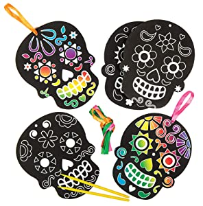 Baker Ross AG995 Day of The Dead Scratch Art Ornaments - Pack of 6, Perfect for Children to Design and Decorate, Ideal for Home Activities, Craft Group Tasks and School Work