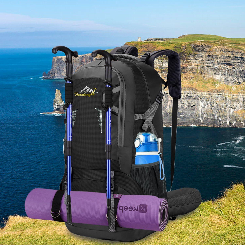Bioasis 60L Mochila de Senderismo con Cubierta de Caminata Daypack de Gran Capacidad para Viaje Deporte Monta/ñismo Trekking Camping al Aire Libre