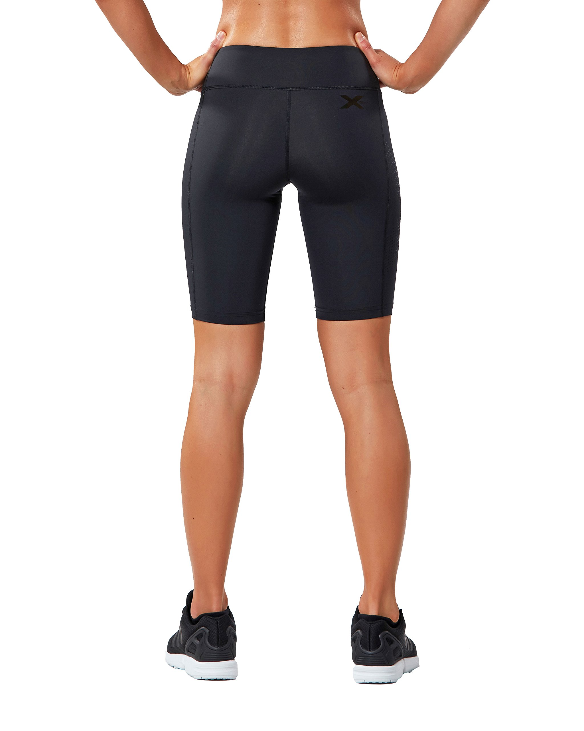 2XU Women's Mid-Rise Athletic Compression Shorts, Black/Dotted Black Logo, X-Small by 2XU (Image #3)