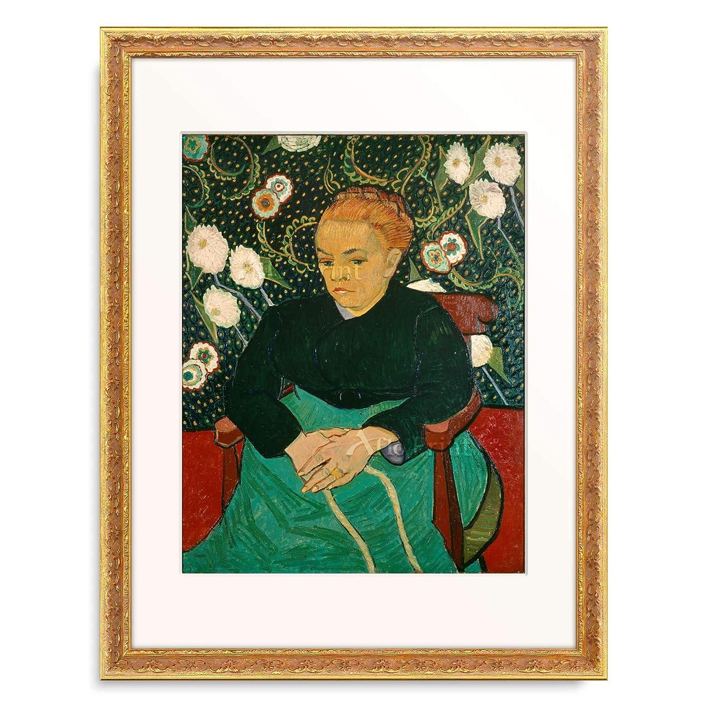 フィンセントファンゴッホ Vincent Willem van Gogh 「ゆりかごを揺らすルーラン夫人(子守唄) La Berceuse (Augustine Roulin)」 額装アート作品 B07PDBZYXN 07.装飾額 19mm(ゴールド) S(額内寸 255mm×203mm) S(額内寸 255mm×203mm) 07.装飾額 19mm(ゴールド)