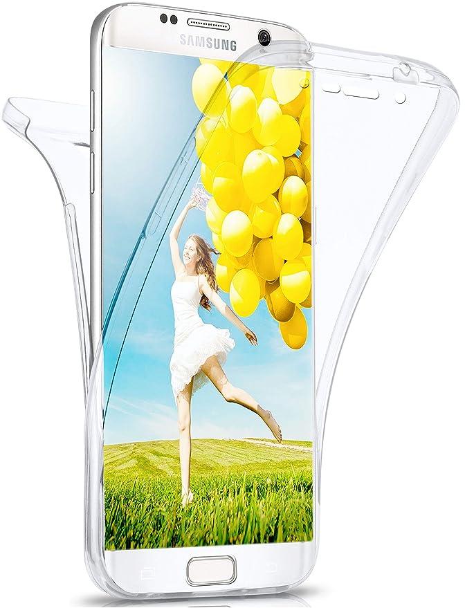 moex Samsung Galaxy S6 Edge   Hülle Silikon Transparent 360 Grad Double Side Cover Dünne Schutzhülle Slim Handyhülle für Sams