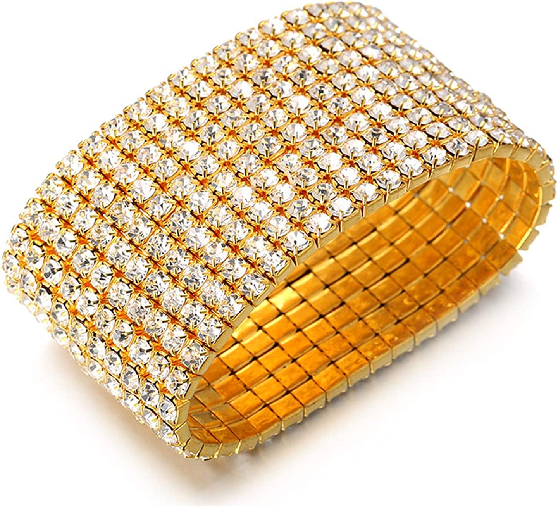 Halukakah ● Super Bling ● Homme Femme 18k Plaqu/é Or V/éritable//Plaqu/é Platine Bracelet /Élastique Diamant Cristal Dense Set 1-10 Rang/ée avec Le Bo/îte-Cadeau Gratuit