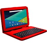 """Visual Land Prestige ELITE A10QL - 10.1"""" QuadCore Android Lollipop 5.0 Tablet with Keyboard Case, 16GB, 1024x600 HD Touch screen (Red)"""