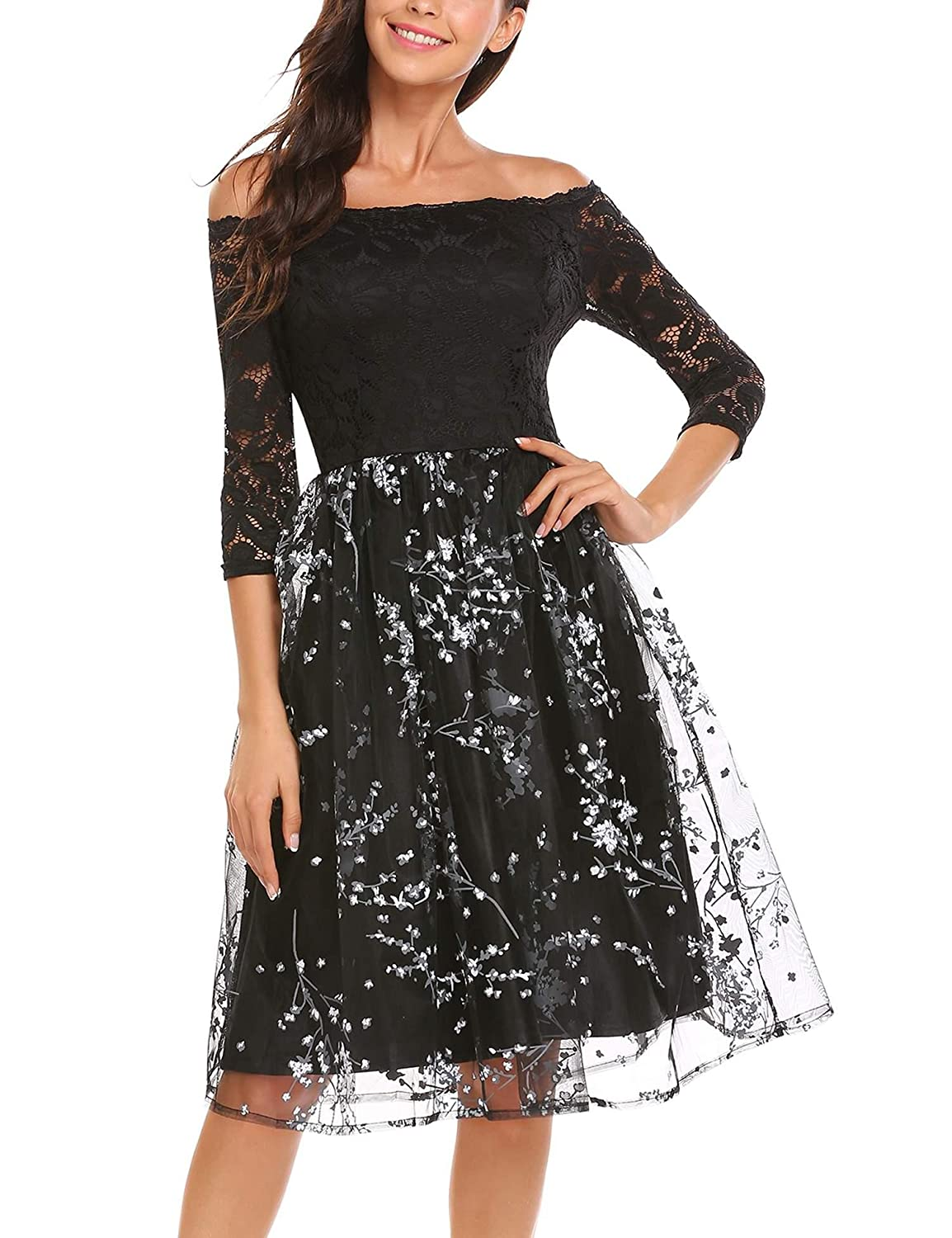 b1b4373b2e4 ANGVNS Women s Off Shoulder 3 4 Sleeve Retro Floral Lace Cocktail Party A-line  Dress at Amazon Women s Clothing store